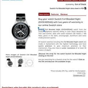 Swatch Accessories - Swatch Watch Full Blooded Night SVCK4035AG